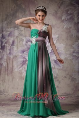 One Shoulder Green Brush Evening Dress with Appliques