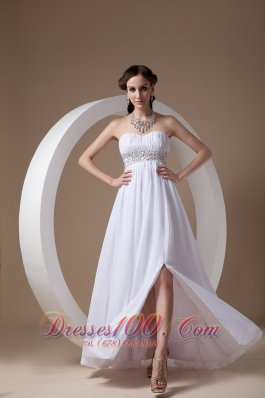 White Front Slit Chiffon Sweetheart Prom Dress