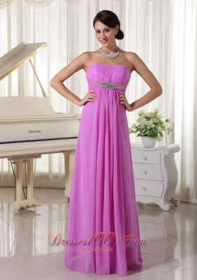 Lavender Chiffon Beaded Empire Prom Dress Lace-up