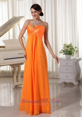 Sweetheart Orange Prom Evening Dress with Beading Trends