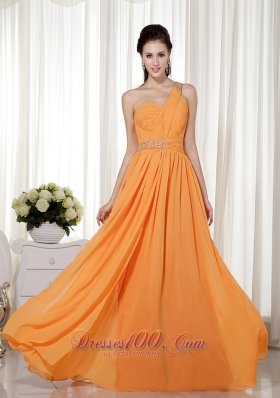 Sheath One Shoulder Prom Celebrity Dress Orange Red Beadwork