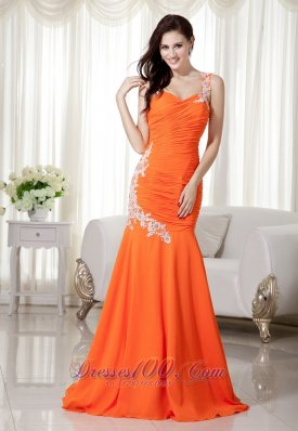 Mermaid Brush Chiffon Orange Prom Evening Dress Appliques