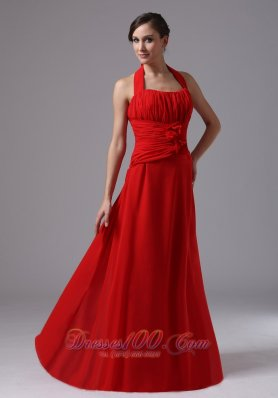 Red Chiffon Ruched Halter Handmade Flowers Prom Dress