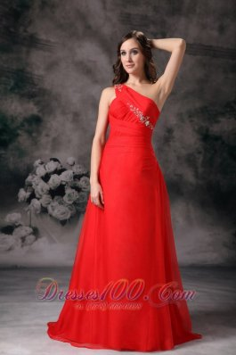 One Shoulder Evening Dress Red Appliques Chiffon