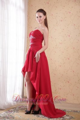 High-low Wine Red Beading Prom Dress Sweetheart