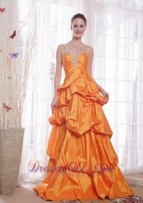 Straps Taffeta Orange Prom Dress Beading Pick-ups