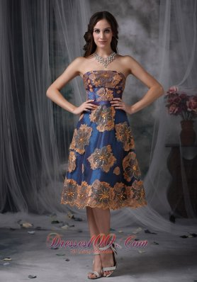 Appliques Taffeta Navy Blue Tea-length Evening Dress