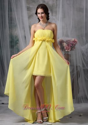 Sheath High-low Yellow Hand Made Flower Prom Dress