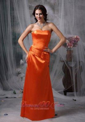 Orange Red Column Satin Ruched Prom Dress Strapless