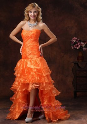 Crisscross High-low Organza Orange Red Layered Holiday Dress