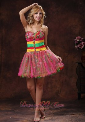 Colorful Mini-length Sweetheart Beaded Cocktail Dress