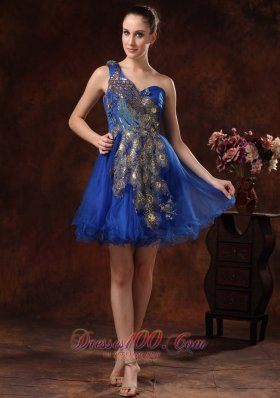 Peacock pattern Royal One Shoulder Cocktail Holiday Dress