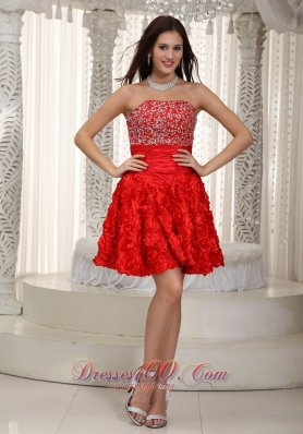 Rolling Flower Red Mini Prom Dress Strapless Beaded