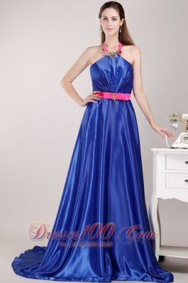 Halter Blue Empire Pageant Dress with Brush Sashed