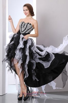 Ruffles High-Low White and Black Prom Holiday Dress Beaded