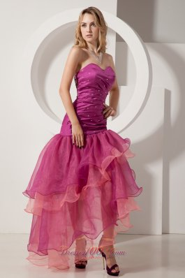 Fuchsia Layered Beading Sweetheart Prom Holiday Dress Ruch