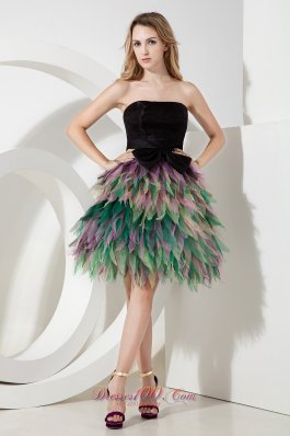 Multi-color Ruffled Bow Prom Holiday Dress Mini-length Organza