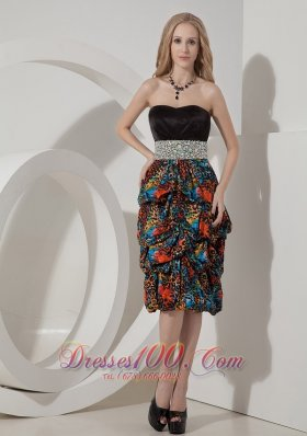 Printed Pick-ups Knee Length Evening Dress Beaded
