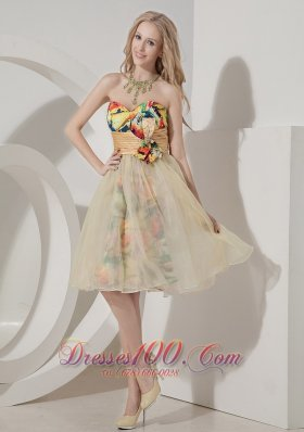 Colorful Printing Short Knee-length Holiday Dress for Prom