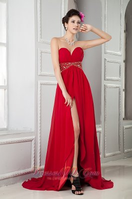 Front Split Wine Red Beads Evening Gown Brush Train