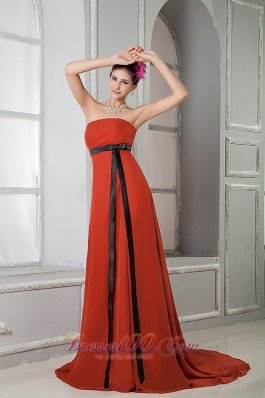Rust Red Long Sash Chiffon Brush Homecoming Dress