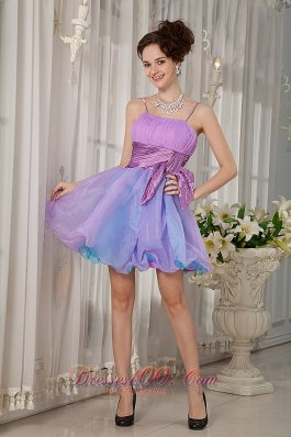 Straps Organza Colorful Mini-length Cocktail Dress