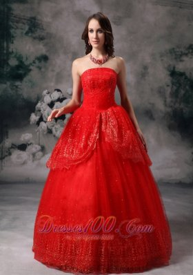 Red Ball Gown Sequined Quinceanera Dress Layered