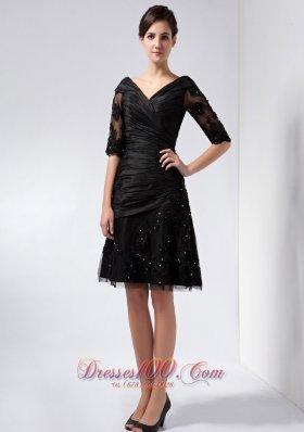 Half Sleeves Mother Of The Bride Dress Black Short