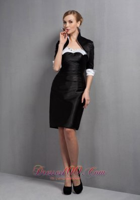 Black Mini-length Satin Mother Dress with Beads Jacket