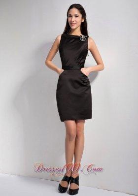 A-line Bateau Mini Little Black Dress with Pockets - US$94.98