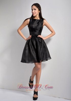 Bateau Mini-length Organza Little Black Dress 2013