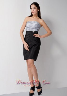 Silver and Black Bridesmaid Dress Mini-length Taffeta