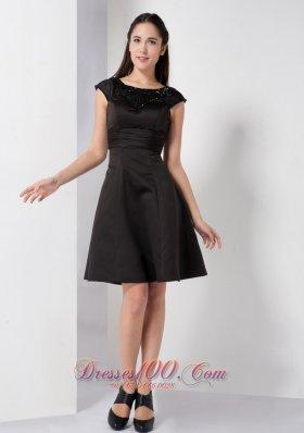 A Line Scoop Satin Beading Short Little Black Dress