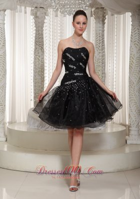 Organza Beading Knee-length Black Homecoming Dress
