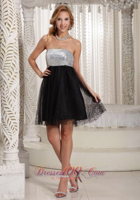 Sequins Black and Silver mini A-line Cocktail Dress
