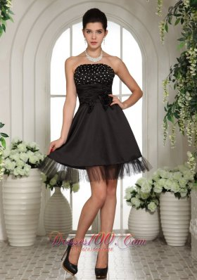 Beaded Handle Flowers Tulle Black Cocktail Dress