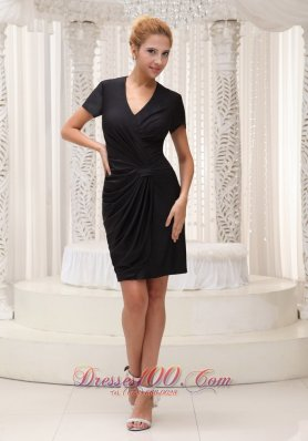 V-neck Short Sleeves Mini Black Mother Of The Bride Dress