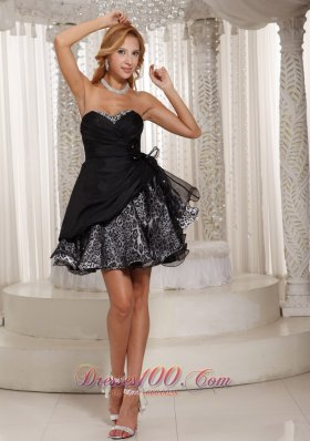 Leopard Black Beading Cocktail little black Dress With Sweetheart