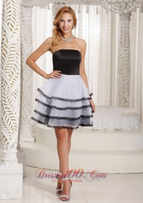 Black and White Cocktail Dress with Ruffled Layers