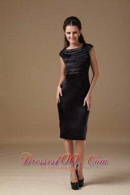 Layered Scoop Knee-length Satin Little Black Dress