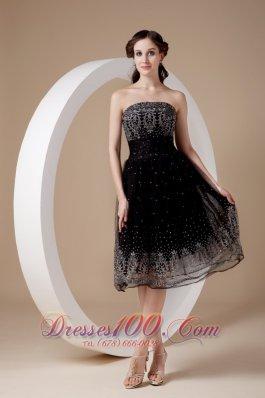 Organza A-line Embroidery Tea-length Black Prom Dress