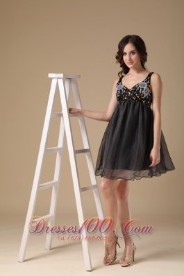 Straps Mini-length Black A-line Evening Gown Organza