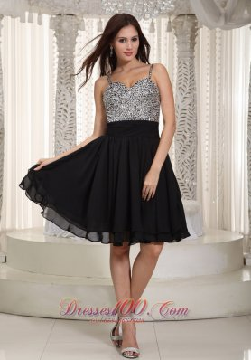 Chiffon Mini-length Black Prom Dress with Beading