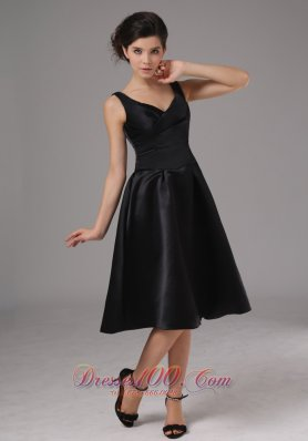Black Straps Tea Length Taffeta Dress for Bridesmaid
