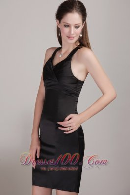 Black Sheath Mini Satin Pleats Prom Dress with V-neck