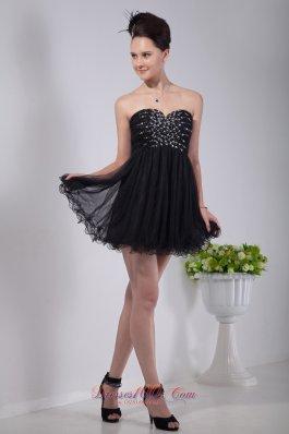 Sweetheart Beading Mini-length Homecoming Dress Black