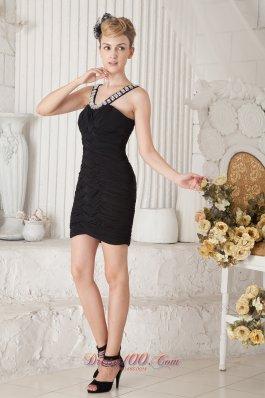 Column Beaded Straps Mini Little Black Dress