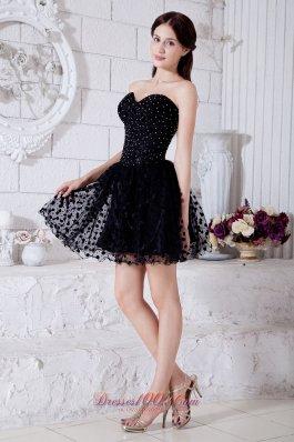 Black Beading Layered Short Homecoming Dress Sweetheart