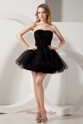 Puffy Black Short Organza Litle Black Dress with Beadwork