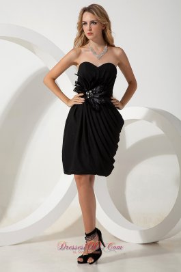 Mini-length Chiffon Sweetheart Little Black Dress